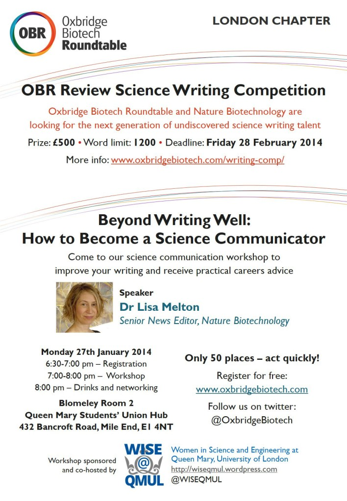 OBR flier: Writing workshop